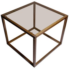 Italian 1960s-1970s Bronzed Extrusion Cube table