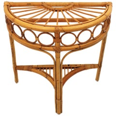 Italian Modernist Bamboo and Rattan Arched Console, 1960s