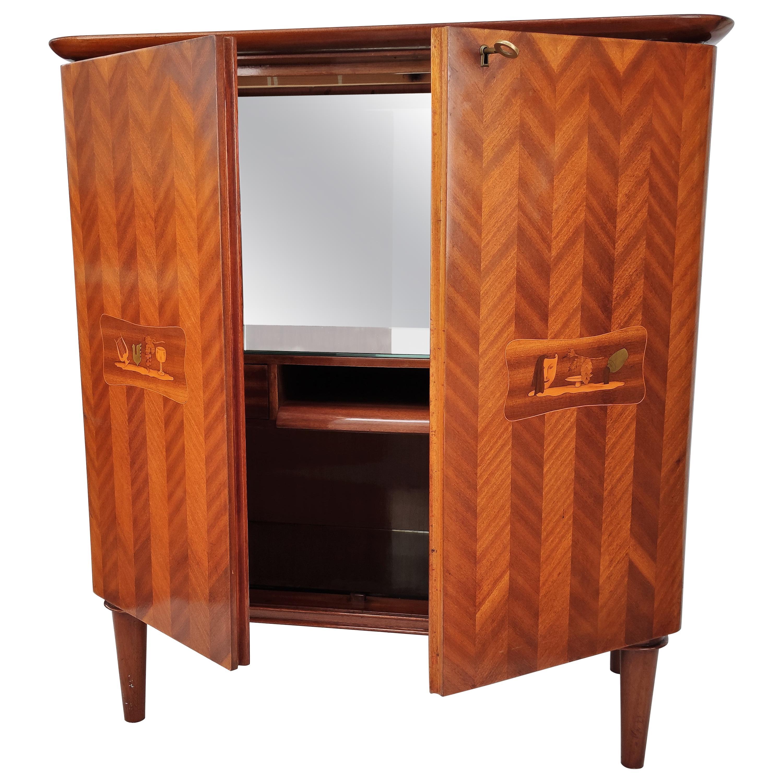 Italian 1960s Art Deco Midcentury Walnut Veneer and Mirror Dry Bar Cabinet