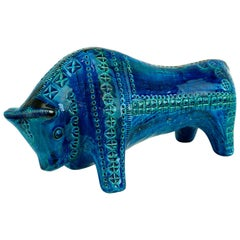 Italian 1960s Big Rimini Blu Bull Designed by Aldo Londi for Bitossi