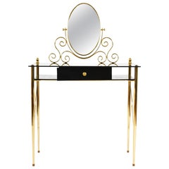 Italian 1960s Black Glass and Brass Vanity Table