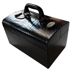 Italian 1960s Black Train Case in Crocodile