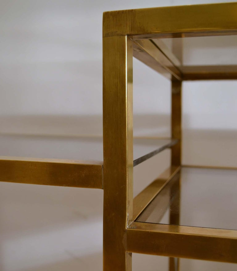 Italian 1960s Brass Multileveled Étagère Shelving Unit Attributed by Romeo Rega For Sale 6