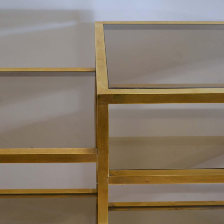 Italian 1960s Brass Multileveled Étagère Shelving Unit Attributed by Romeo Rega For Sale 7