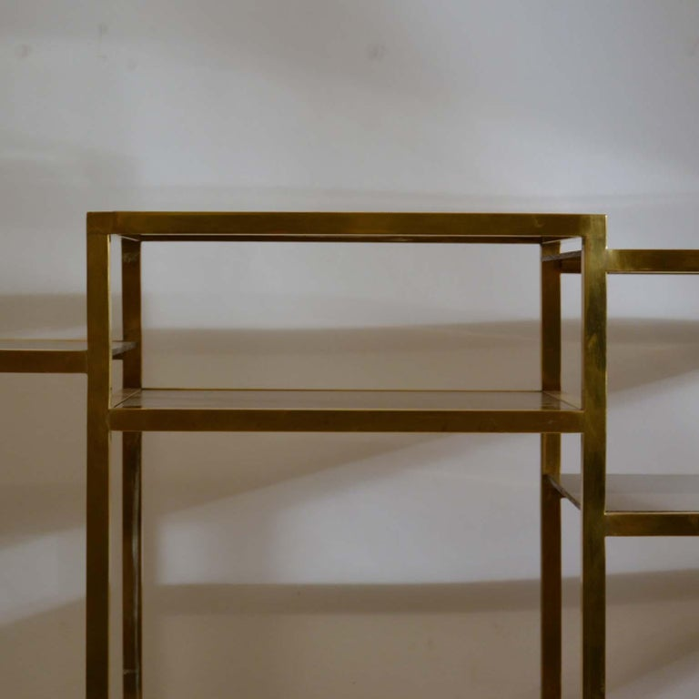 Italian 1960s Brass Multileveled Étagère Shelving Unit Attributed by Romeo Rega For Sale 8