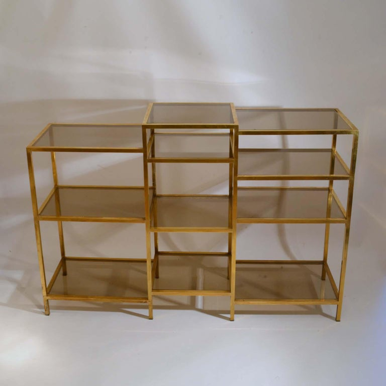 Mid-Century Modern Italian 1960s Brass Multileveled Étagère Shelving Unit Attributed by Romeo Rega For Sale