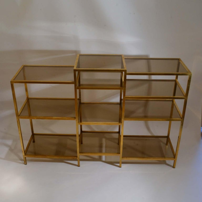 Mid-20th Century Italian 1960s Brass Multileveled Étagère Shelving Unit Attributed by Romeo Rega For Sale