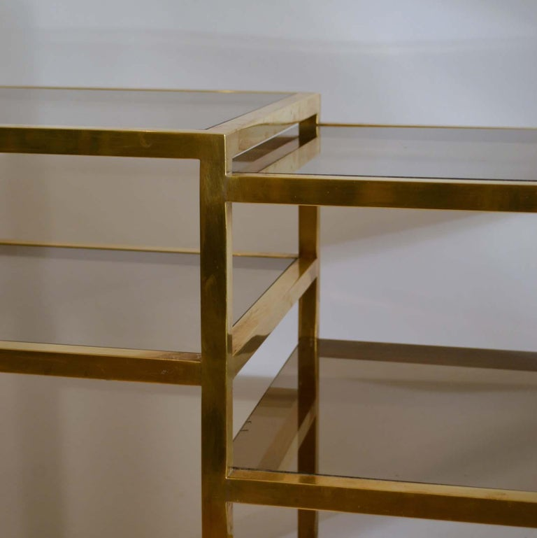 Italian 1960s Brass Multileveled Étagère Shelving Unit Attributed by Romeo Rega For Sale 3