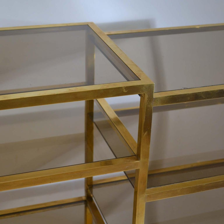 Italian 1960s Brass Multileveled Étagère Shelving Unit Attributed by Romeo Rega For Sale 4