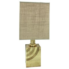 Italian 1960s Brass Table Lamp with Striped Detail
