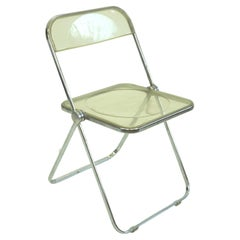Italian 1960s Chrome and Lucite Plia Folding Chair by G. Piretti for Castelli