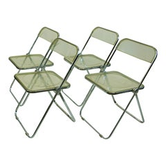 Italian 1960s Chrome and Lucite Plia Folding Chairs by G. Piretti for Castelli