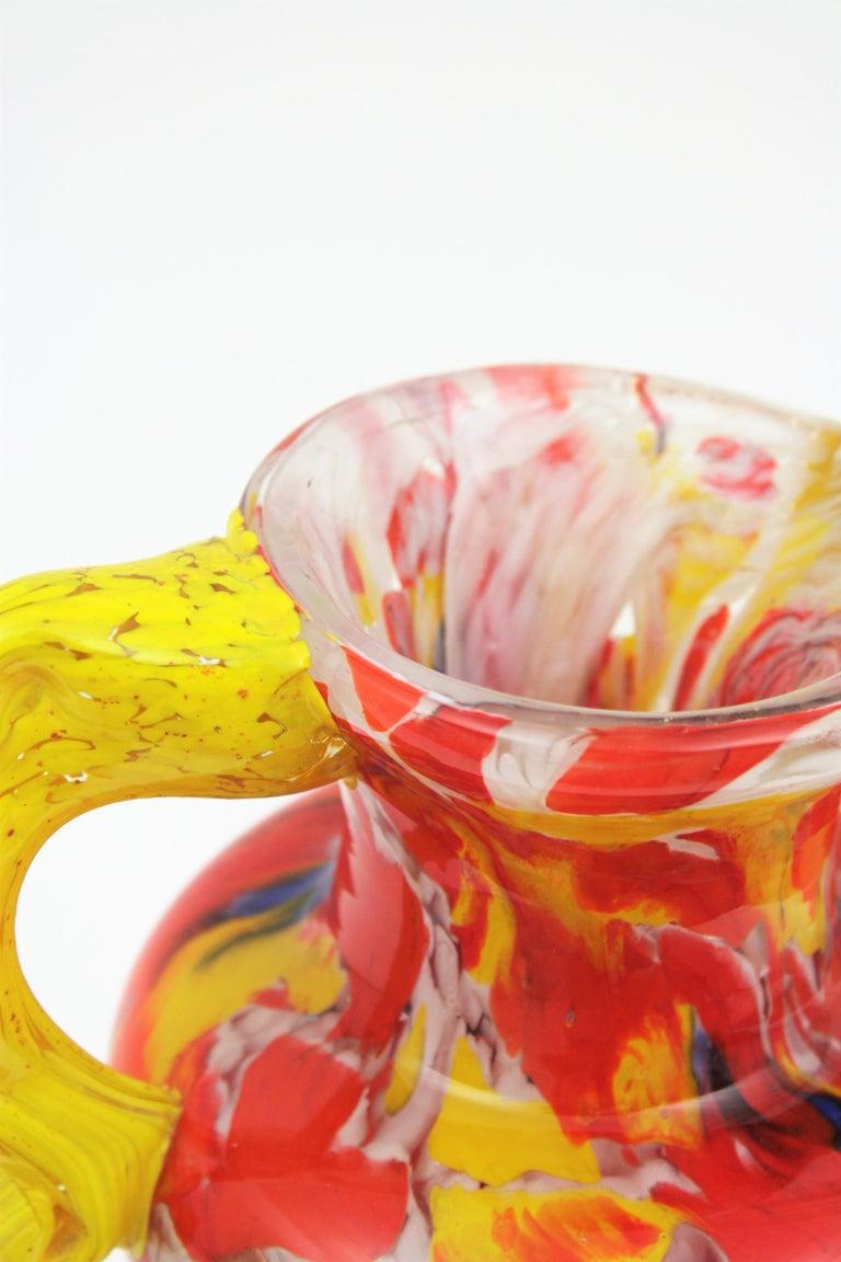 Italian 1960s Colorful Hand Blown Multi-Color Murrine Murano Art Glass Jar Vase For Sale 5
