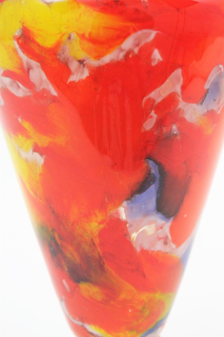 Italian 1960s Colorful Hand Blown Multi-Color Murrine Murano Art Glass Jar Vase For Sale 7