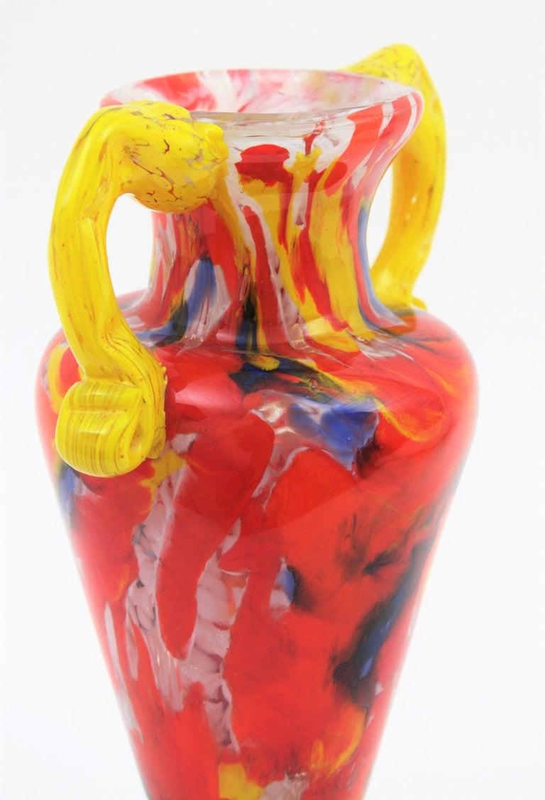 Italian 1960s Colorful Hand Blown Multi-Color Murrine Murano Art Glass Jar Vase For Sale 1