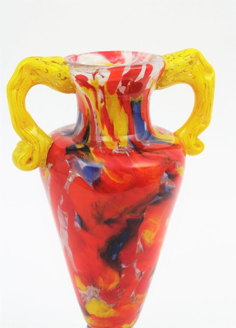 Italian 1960s Colorful Hand Blown Multi-Color Murrine Murano Art Glass Jar Vase For Sale 2