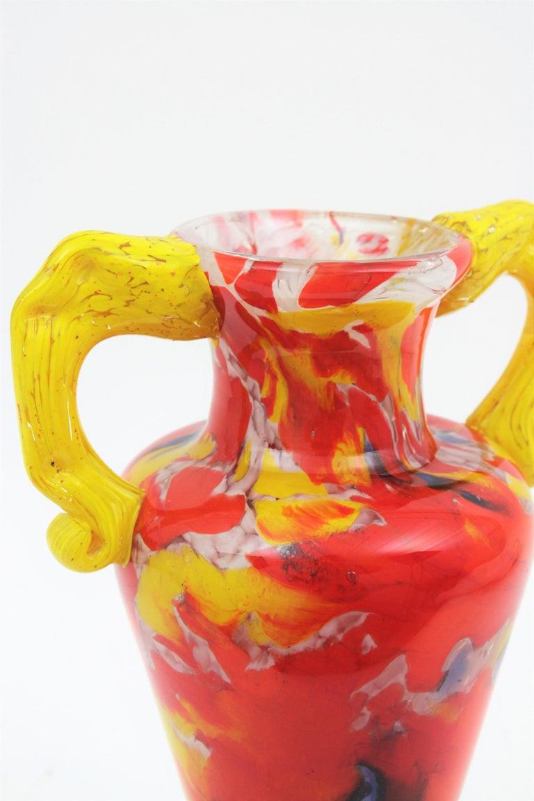 Italian 1960s Colorful Hand Blown Multi-Color Murrine Murano Art Glass Jar Vase For Sale 3