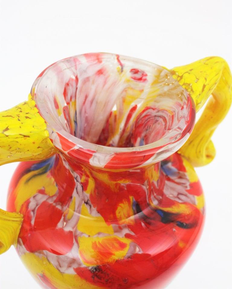 Italian 1960s Colorful Hand Blown Multi-Color Murrine Murano Art Glass Jar Vase For Sale 4