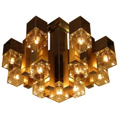 Italian 1960s Cubic Chandelier in Chrome, Brass and Glass by Gaetano Sciolari