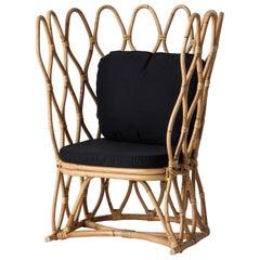 Italian 1960s Design Style Rattan and Wicker Armchair