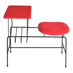 Italian 1960s Desk Bench with Seat and Small Top in a Red Fabric