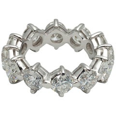 Italian 1960s Eternity 3.60 Carat Diamond Band Ring Set in Platinum