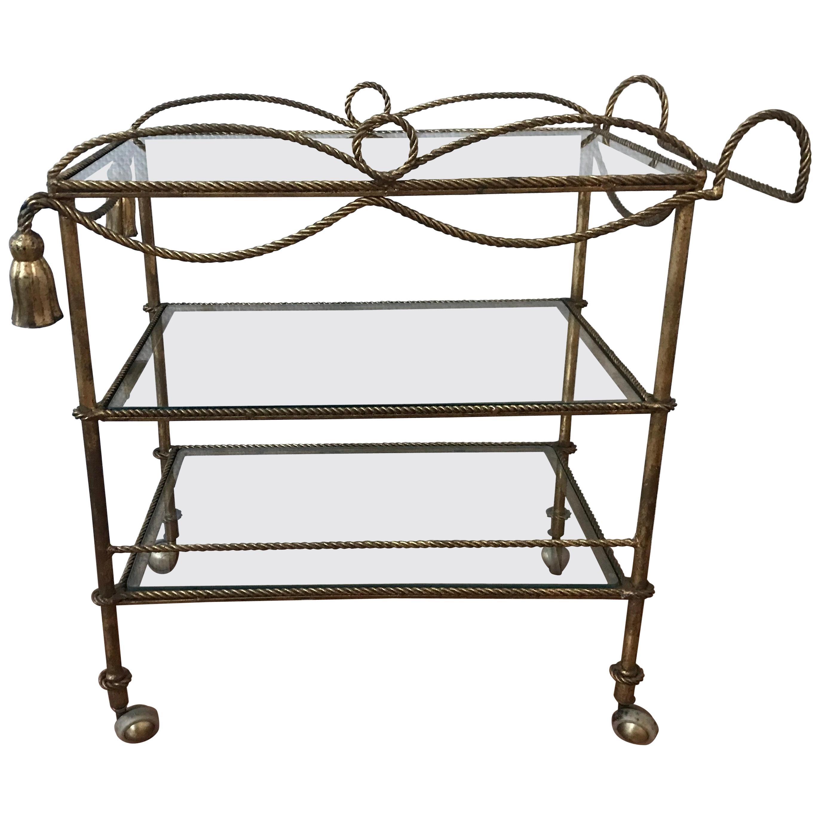 Italian 1960s Gilt Metal Rope and Tassel Bar Cart