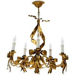 Italian 1960s Gilt Tole Ribbon Chandelier