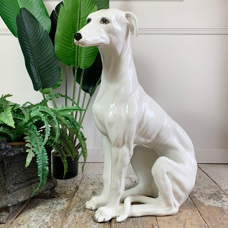 An absolutely stunningly detailed hand made large ceramic Greyhound statue. Dating to the 1960's, Italian and fully stamped to the base. This is a true original piece of Italian made ceramic, in excellent condition, just a couple of tiny grazes to