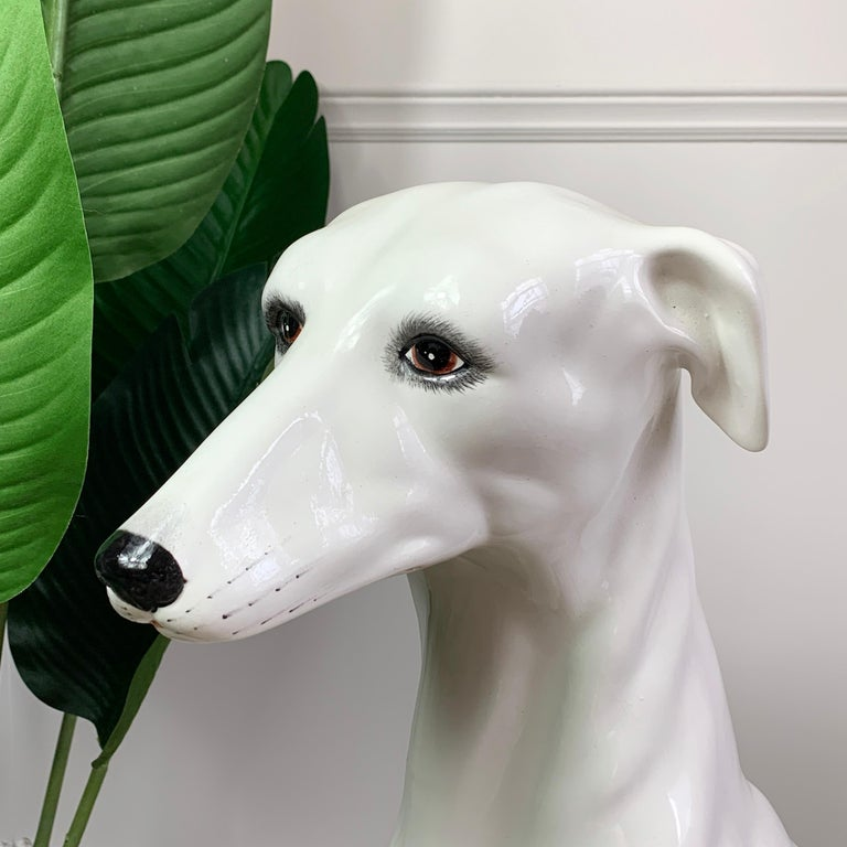 Hand-Crafted Italian 1960's Hand Made Ceramic Greyhound For Sale
