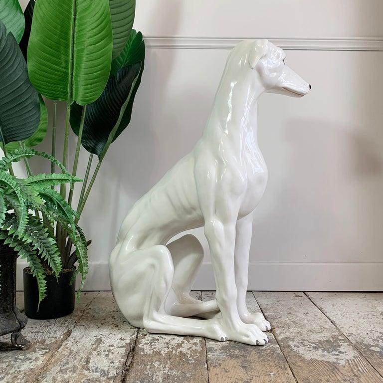 Mid-20th Century Italian 1960's Hand Made Ceramic Greyhound For Sale