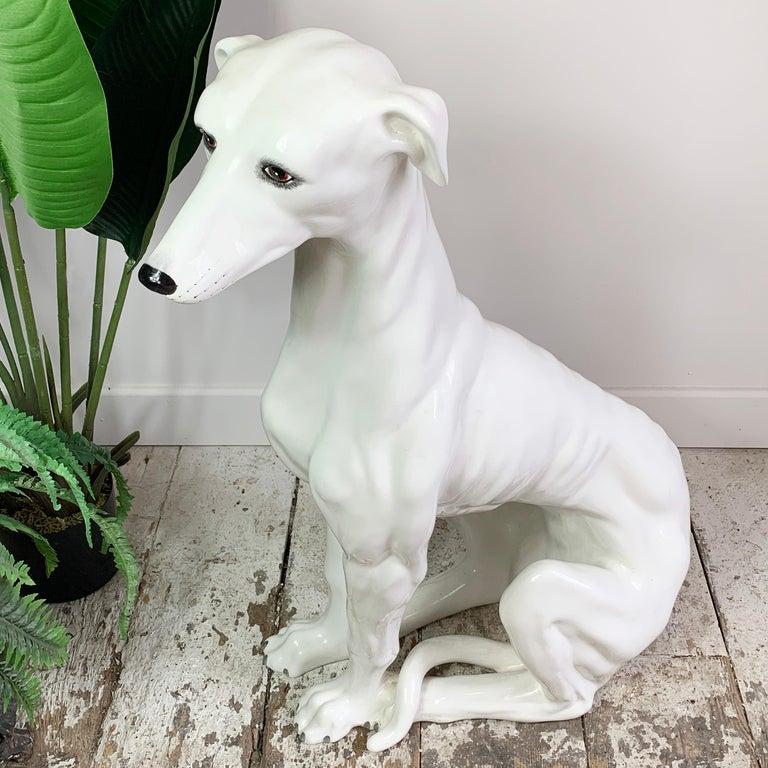 Italian 1960's Hand Made Ceramic Greyhound For Sale 3