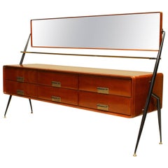 Italian 1960s Mahogany Chest with Bevelled Glass Mirror