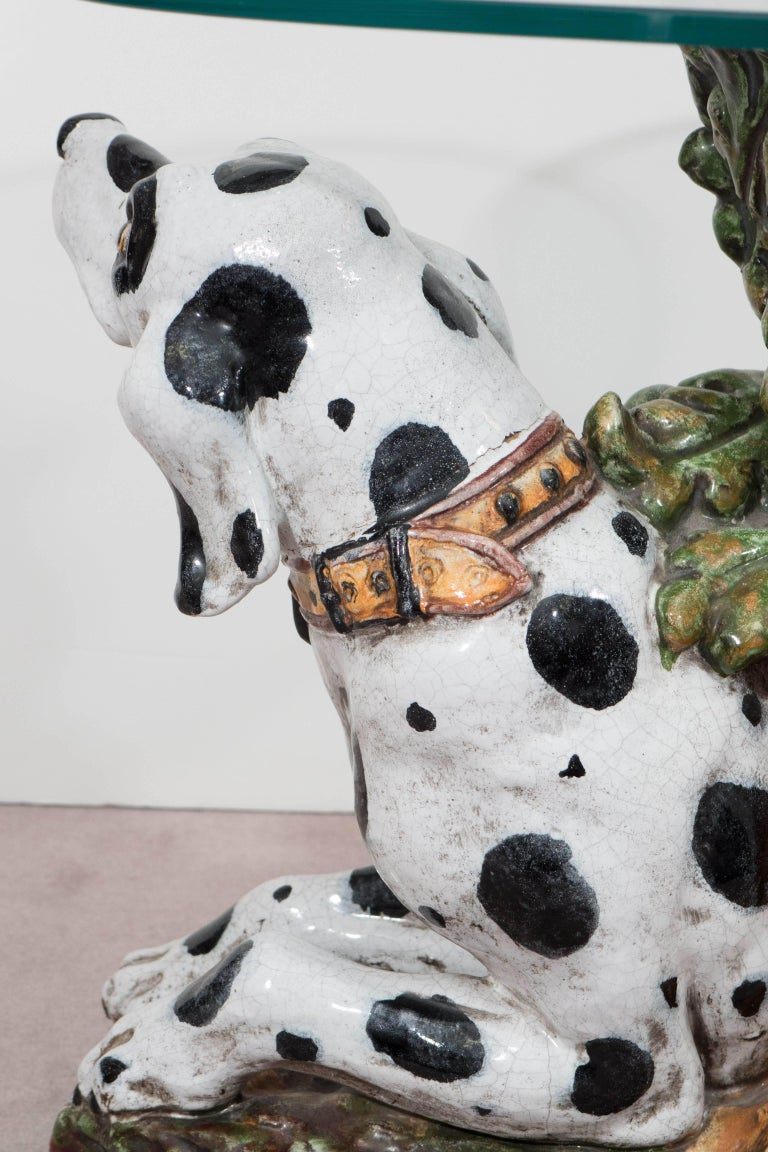 Italian 1960s Occasional Glass Top Table with Ceramic Dalmatian as Base For Sale 4
