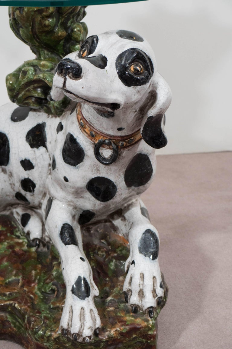 Mid-Century Modern Italian 1960s Occasional Glass Top Table with Ceramic Dalmatian as Base For Sale