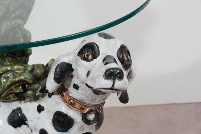Italian 1960s Occasional Glass Top Table with Ceramic Dalmatian as Base In Good Condition For Sale In New York, NY