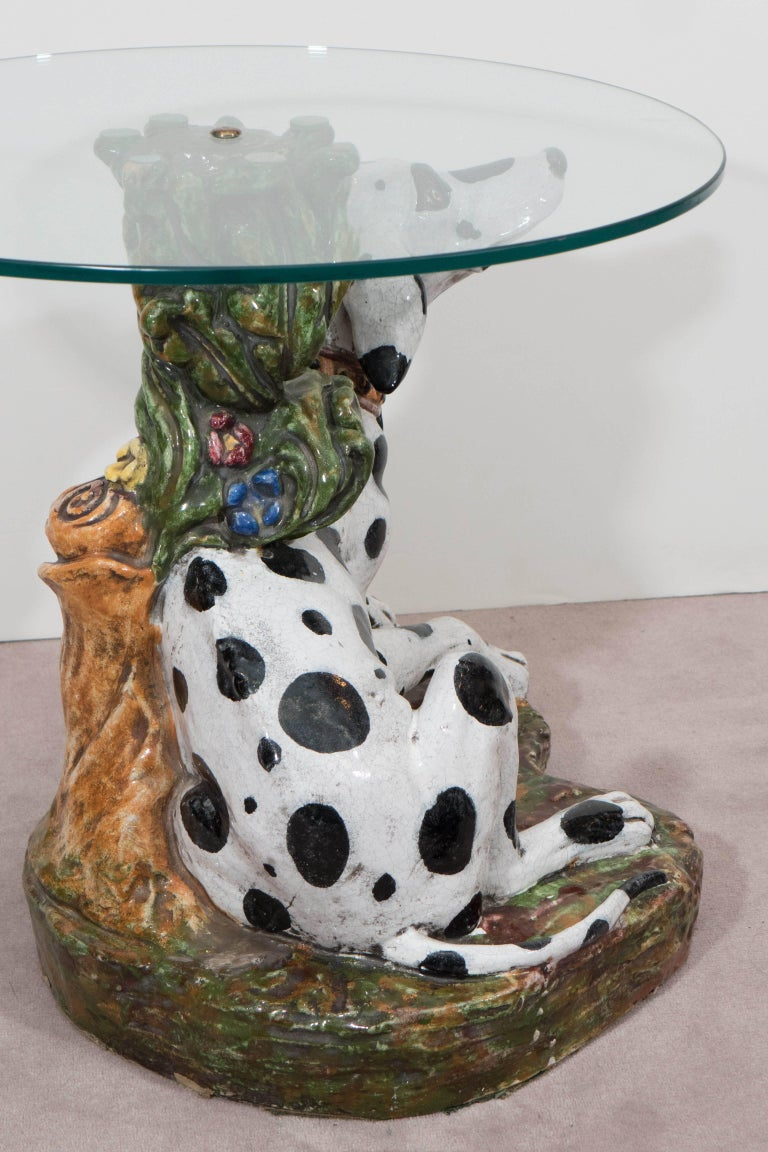 Mid-20th Century Italian 1960s Occasional Glass Top Table with Ceramic Dalmatian as Base For Sale