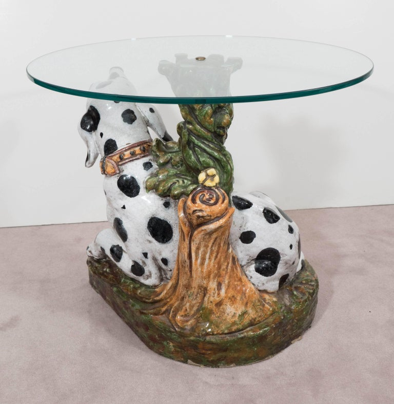 Italian 1960s Occasional Glass Top Table with Ceramic Dalmatian as Base For Sale 1