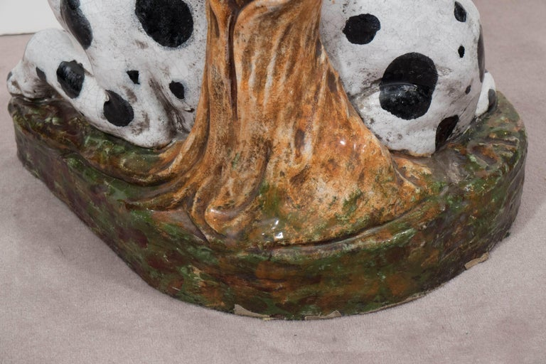 Italian 1960s Occasional Glass Top Table with Ceramic Dalmatian as Base For Sale 2