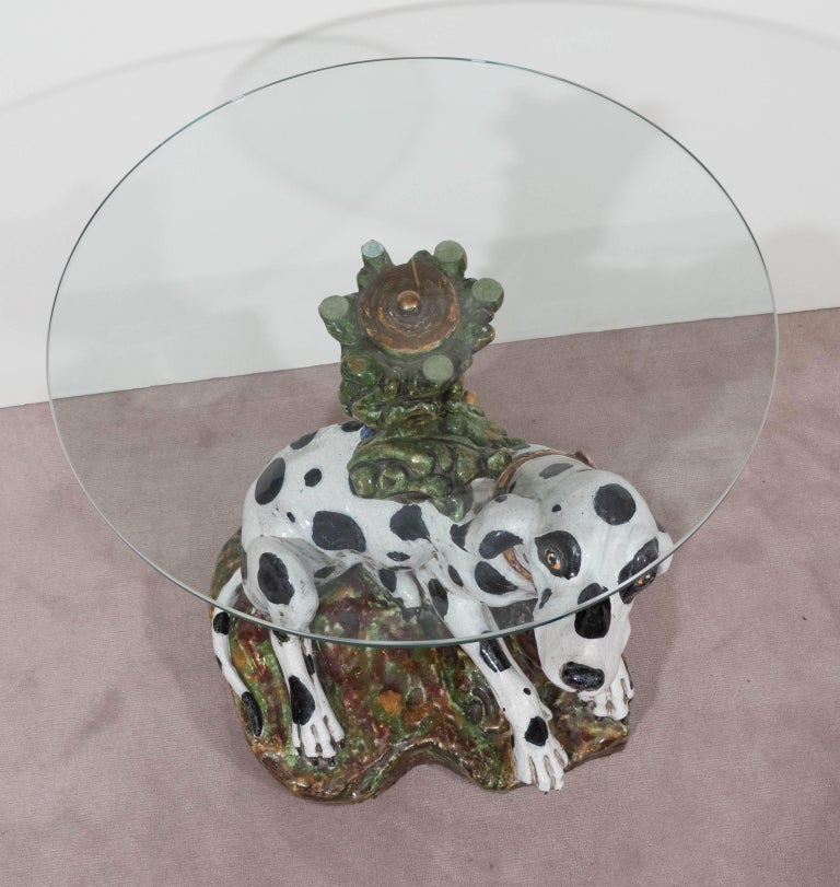 Italian 1960s Occasional Glass Top Table with Ceramic Dalmatian as Base For Sale 3