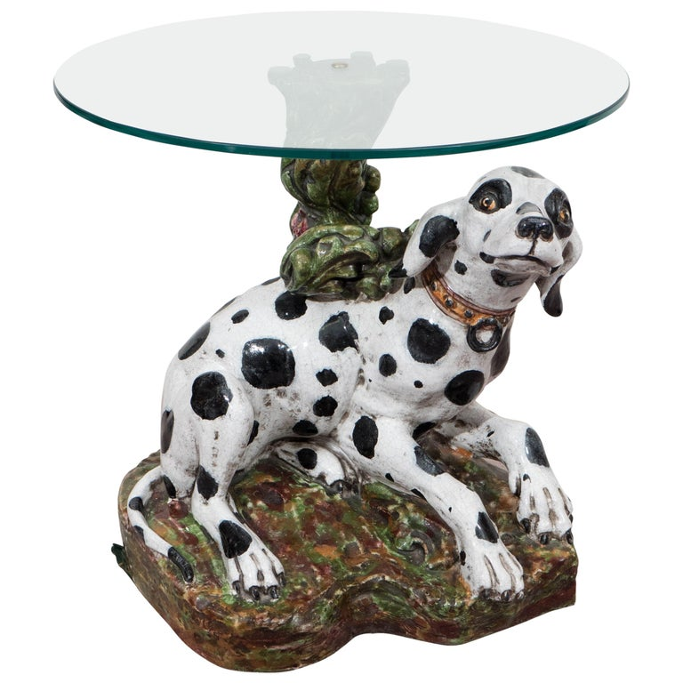 Italian 1960s Occasional Glass Top Table with Ceramic Dalmatian as Base For Sale