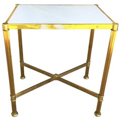 Italian 1960s Parchment and Brass Side Table, Attributed to Maison Jansen