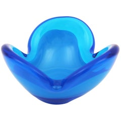 Seguso Murano Opaline and Clear Blue Glass Flower Shaped Bowl