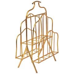Italian 1960s Tall Brass Magazine Rack