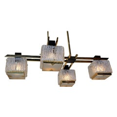 Italian 1960's Texture Glass and Bronze Chandelier