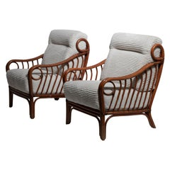 Italian 1960s Wicker Lounge Chairs