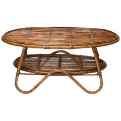 Italian 1960s Wicker Side Table