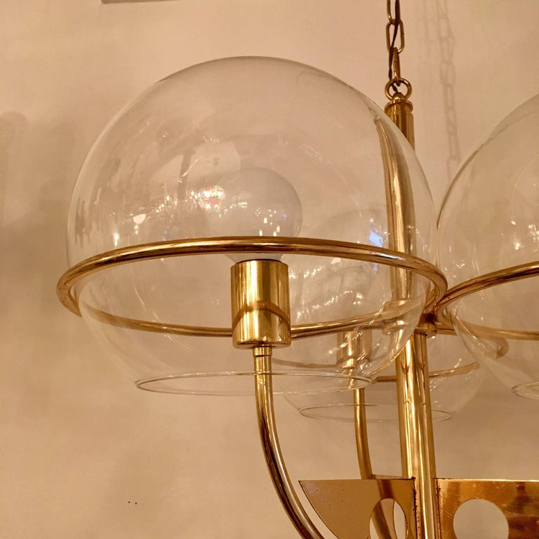 Italian 1970 High Style Brass Pendant In Excellent Condition For Sale In New York, NY