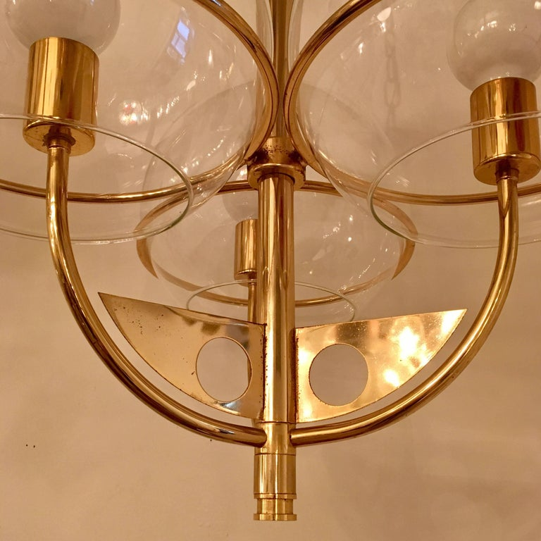 Late 20th Century Italian 1970 High Style Brass Pendant For Sale