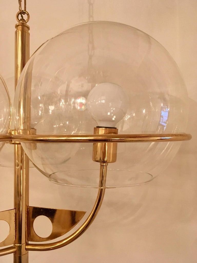 Italian 1970 High Style Brass Pendant For Sale 1